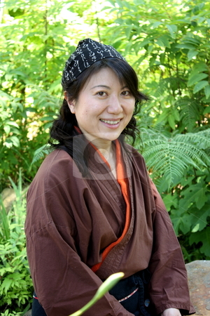 Japanese Women stock photo, portrait of a Japanese woman with traditional clothing by Henrik Lehnerer