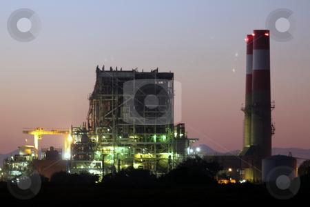 Power Station Lights stock photo, natural gas power statio near oxnard california by Henrik Lehnerer