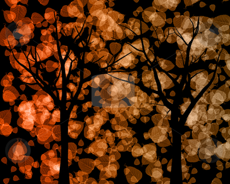 Tree Silhouettes with Autumn Leaves Background stock photo, Tree Silhouettes with Brown and Beige Autumn Leaves Background  by Snap2Art