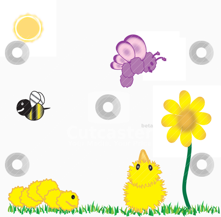 Chick and friends 2 stock vector clipart, A little chick and his insect friends on a spring day by Michelle Bergkamp