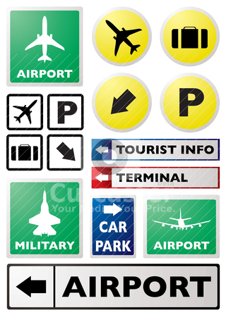 Airport sign stock vector clipart, Illustration of a collection of airport sign in different colours by Michael Travers