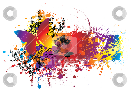 Ink butterfly stock vector clipart, Colourful ink splat natural background with room to add copy by Michael Travers