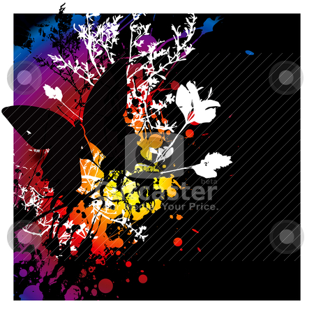 Evil butterfly stock vector clipart, Dark gothic style abstract image with floral elements and a butterfly by Michael Travers