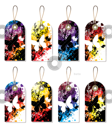 Splat tag dark stock vector clipart, Collection of eight shop tag labels with a butterfly by Michael Travers