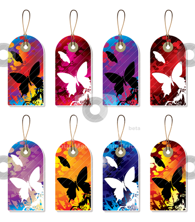Splat tag stock vector clipart, Collection of nature tags with ink splats in silhouette by Michael Travers