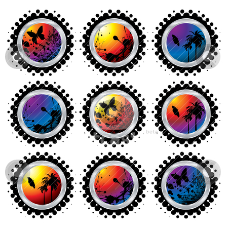 Tropical button stock vector clipart, Collection of nine brightly coloured buttons with halftone dots by Michael Travers