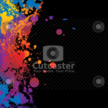 Inky border stock vector clipart, Colourful ink splat background with room to add your own copy by Michael Travers