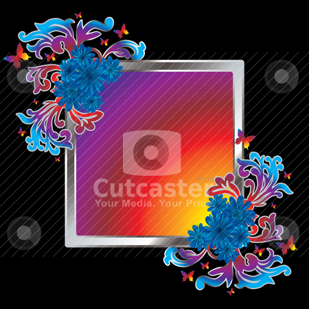 Gourdy frame stock vector clipart, Colourful picture frame with a floral theme and butterflys by Michael Travers