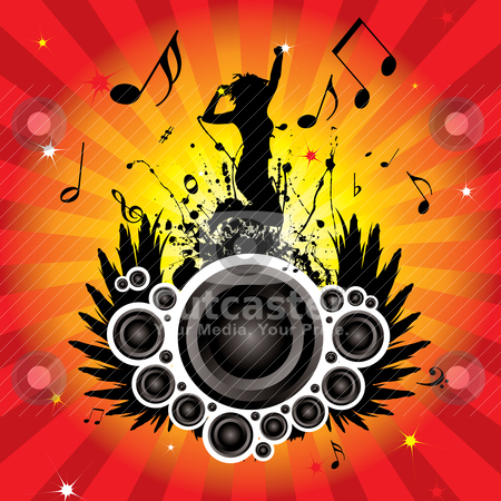 Speaker wings stock vector clipart, Musical inspired image with radiating background and women by Michael Travers