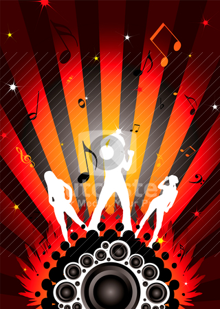 Disco trio stock vector clipart, Modern dancing image with three sexy women silhouettes by Michael Travers