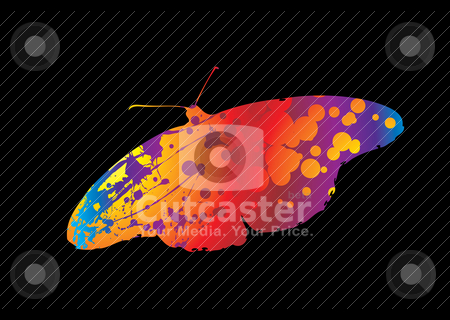 Bright butterfly stock vector clipart, Silhouette of a butterfly with ink splats in bright colours by Michael Travers