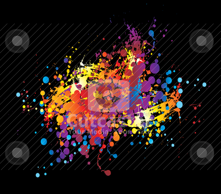 Paint chuck collection stock vector clipart, Paint chucked on a black background in bright colours by Michael Travers