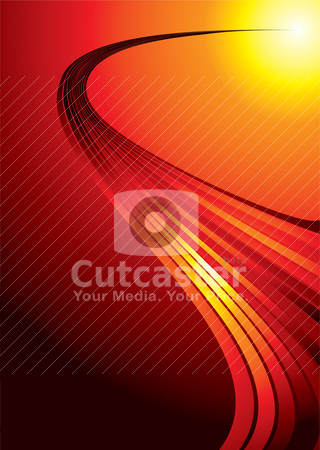 Red hot strand stock vector clipart, Red hot background with a flowing strand of light by Michael Travers