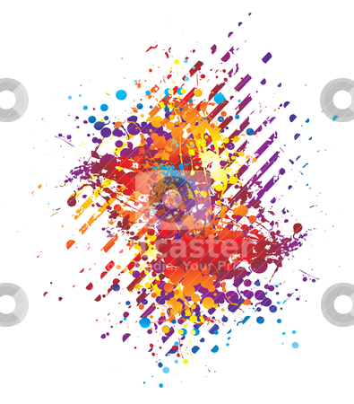 Paint chuck stripe stock vector clipart, Abstract background in bright colours with ink splats by Michael Travers