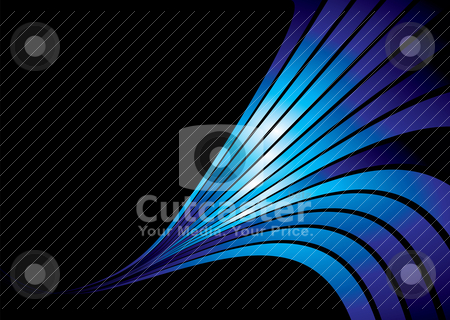 Cool blue slide stock vector clipart, Abstract blue and black background with a wave design by Michael Travers