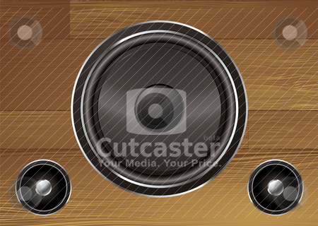 Wood grain speaker stock vector clipart, Speaker collection on a wood grain illustrated background by Michael Travers