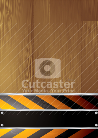 Warning grain stock vector clipart, Warning background with copyspace and wood grain effect by Michael Travers