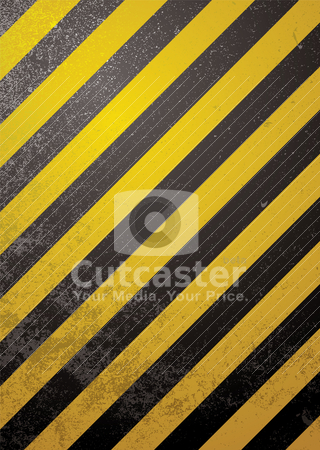 Alert warning standard stock vector clipart, Traditional black and yellow warning background with grunge effect by Michael Travers