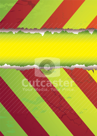 Striped tear stock vector clipart, Modern style warning background in bright colorful hues by Michael Travers