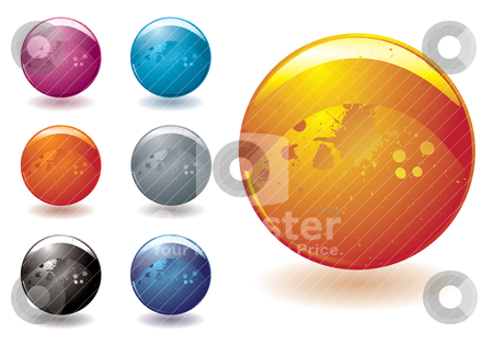 Marble blast stock vector clipart, Collection of seven bright buttons designed for the web by Michael Travers