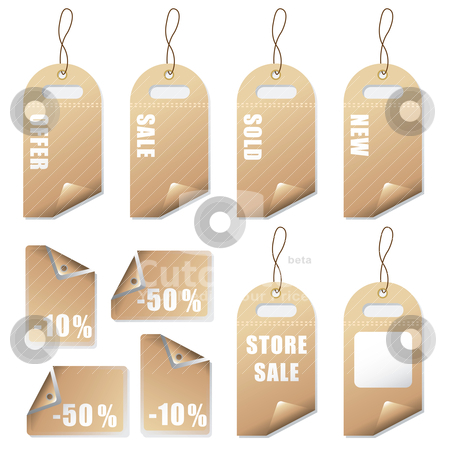 Natural tags sale stock vector clipart, Sale tags with room to add your own text by Michael Travers
