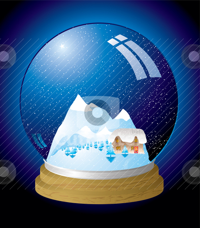 Snow globe modern stock vector clipart, Christmas themed snow globe with a chocolate box cottage by Michael Travers