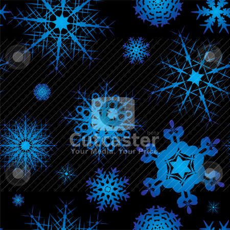 Snowflake seamless square stock vector clipart, Snowflake background design in blue and black with no join by Michael Travers