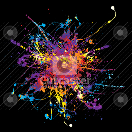 Paint splat rainbow black stock vector clipart, Multi coloured rainbow ink splat background in black by Michael Travers