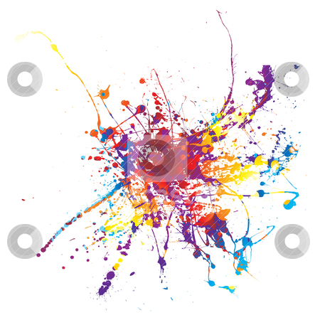 Paint splat rainbow stock vector clipart, Rainbow ink splat on a white background multi coloured by Michael Travers