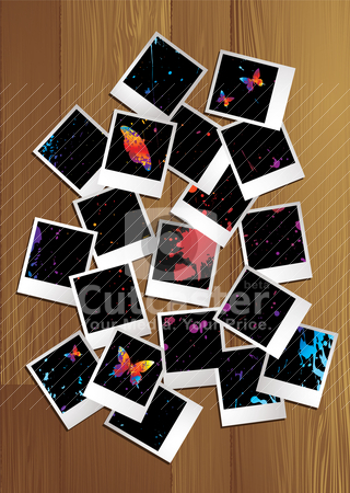 Polaroid puzzle nature stock vector clipart, Polaroid images spread out across a wooden table by Michael Travers