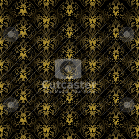 Floral gothic black and black stock vector clipart, Black and gold gothic repeating background with seamless join by Michael Travers