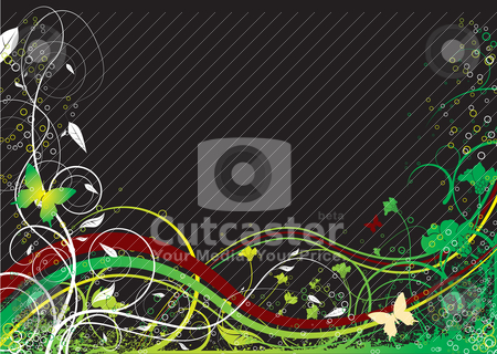 Floral special dark stock vector clipart, Dark floral background with flowing lines inspired by nature by Michael Travers