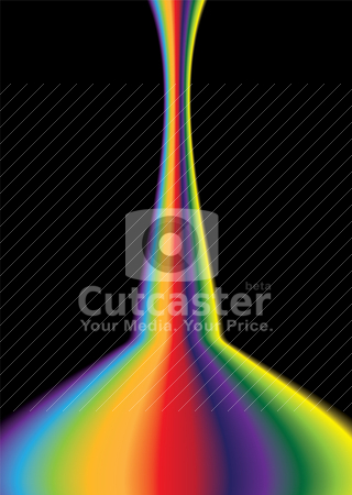Rainbow bend bright stock vector clipart, Bright coloured rainbow effect background with copy space by Michael Travers