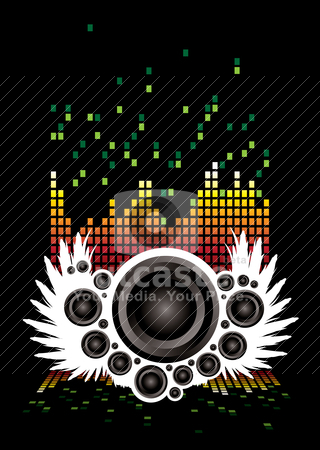 Musical wings stock vector clipart, Abstract illustrated musical background with speakers and wings by Michael Travers