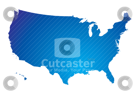 North america blue map stock vector clipart, Illustration of the north american land mass in blue by Michael Travers