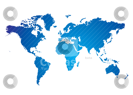 World map blue stock vector clipart, Blue and white Illustrated world map with white background by Michael Travers