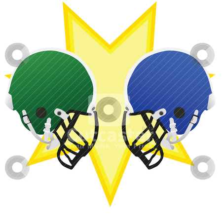 Football battle stock vector clipart, Two football helmets facing each other, symbolizing the battle of the game by Bruno Marsiaj