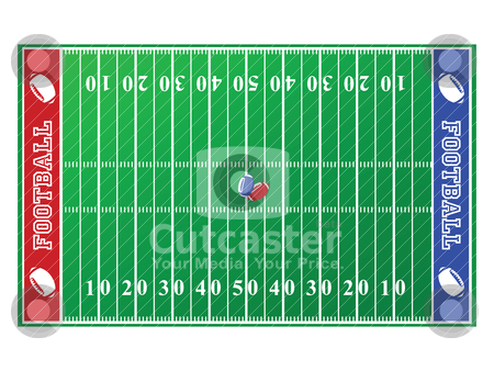 Football field stock vector clipart, Illustration of a football field, with red and blue end zones by Bruno Marsiaj