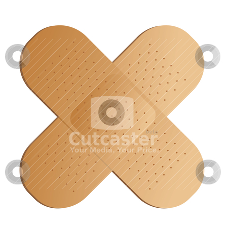 Cross band aid stock vector clipart, Two illustrated band aids cross with a drop shadow by Michael Travers