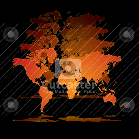 World hologram stock vector clipart, Illustrated 3d world in orange on a black background by Michael Travers