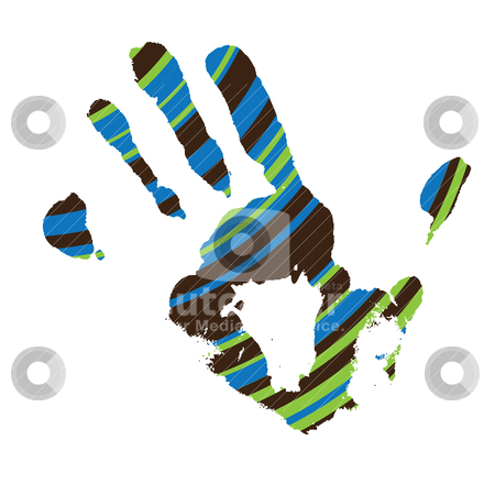 Stripe hand stock vector clipart, Single hand outline on a white background with stripped effect by Michael Travers