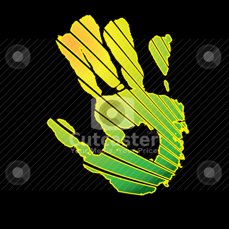 Cyber hand stock vector clipart, Modern abstract look at a human hand in green and yellow by Michael Travers