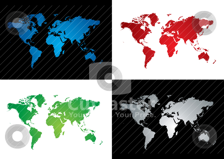 World map variation stock vector clipart, Four colourful map variations two on a black background by Michael Travers