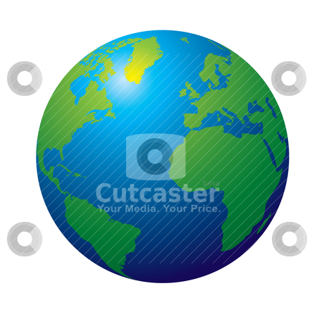 Globe stock vector clipart, 3d view of the earth in tradtional colours green and blue by Michael Travers