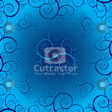 Seamless twisted blue stock vector clipart, Different shades of blue with a floral inspired seamless design by Michael Travers