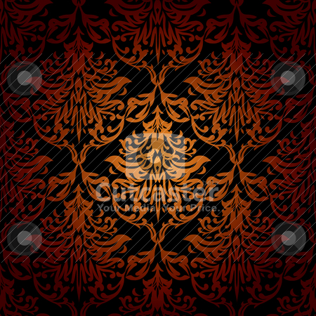 Seamless warm wallpaper stock vector clipart, Red orange and black seamless repeating wallpaper design by Michael Travers