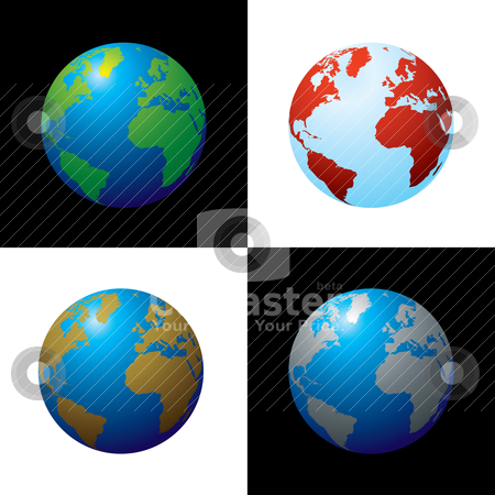Golbe variation stock vector clipart, Collection of four globes in varius colour configariations by Michael Travers