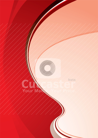Cool red swoosh stock vector clipart, Bright red abstract background with room to add your own copy by Michael Travers