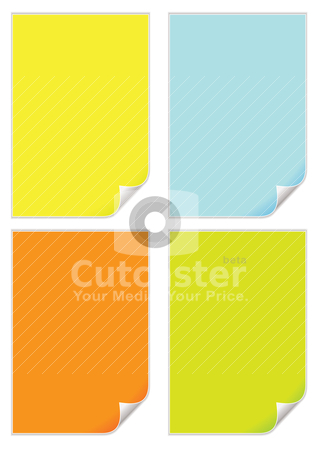 Page curl variation stock vector clipart, Collection of four coloured pieces of paper with page curls by Michael Travers