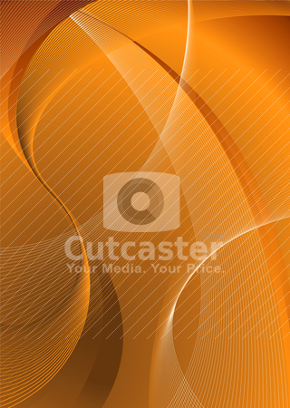 Orange smooth stock vector clipart, Orange background with flowing wave lines by Michael Travers
